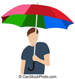 よい, 人, 白, 虹, 隔離された, 傘, 漫画, ムード