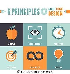 よい, 原則, ベクトル, デザイン, 6, ロゴ