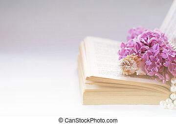よい, 古い, ロマンチック, ライラック, 型, 背景, 結婚式, 本, 挨拶, space., 花, 背景, 招待, pearls., コピー, ∥あるいは∥, カード