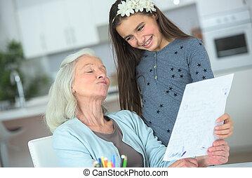 よい, 娘, 時間, 一緒に, 祖母, 壮大, 持つこと