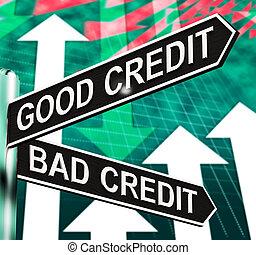 よい, 悪い信用, 道標, 提示, 顧客, 財政, 3d, イラスト