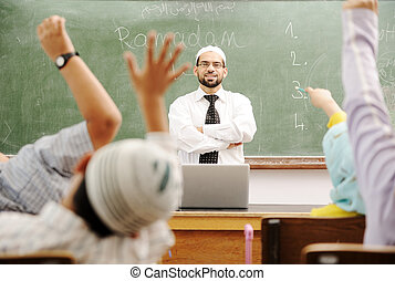 よい, 教師, 中に, 教室, の前, 板