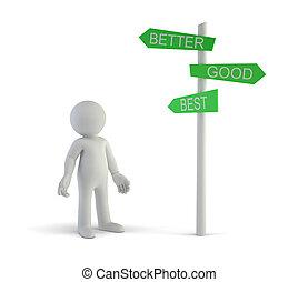 よい, 方向, 人々, -, よりよい, 小さい, 最も良く, 3d