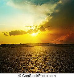 よい, 日没, 上に, アスファルト坑道