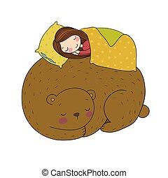 よい, 睡眠, bear., tale., 女の子, 妖精