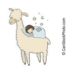 よい, 睡眠, night., 女の子, 漫画, lama.