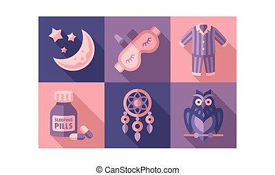 よい, 要素, アイコン, セット, 甘い, 時間, イラスト, ベクトル, 睡眠, 夜, 夢