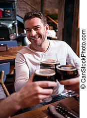 よい 見ること, ガラス, ビール, 魅力的, 保有物, 人