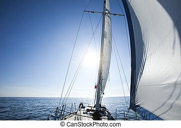 よい, 飽和させられた, カラフルである, 航海, 風, 主題, 夏