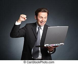 よい, chakka, yieppieh!, 有頂天, 熱狂的, -, ビジネスマン, ラップトップ, ニュース