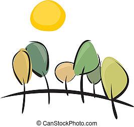 よく晴れた日, 木, ベクトル, 春