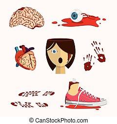 よく, 器官, そして, 人間の体部分, 中に, ハロウィーン, style.
