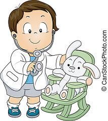 よちよち歩きの子, 男の子, 医者