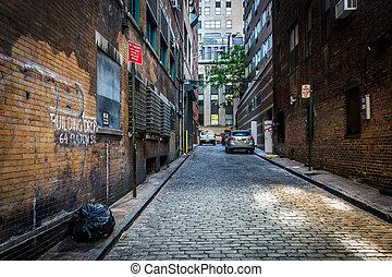 より低い, アリー, ryders, york., 新しい, マンハッタン