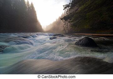より低い, ルイス川は落ちる, の間, 日没