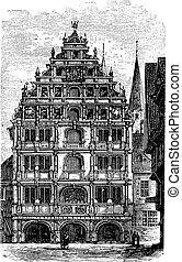 より低い, 型, ザクセン, braunschweig, ブランズウィック, gewandhaus, germany., ∥あるいは∥, engraving.