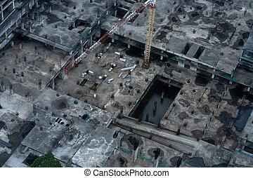 より低い, 床, 建物, 大きい, 運転された, 後で, 平面図, 山, built., サイト, 建設, rain.
