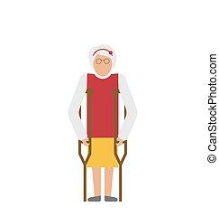 より古い 女性, ∥で∥, crutches., 不能, 年配, 祖母