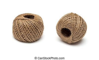 より糸, かせ, ジュート, 白い背景