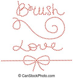 より糸, ひも, 贈り物, パターン, お辞儀をする, ロープ, brush., 白, ties., 赤