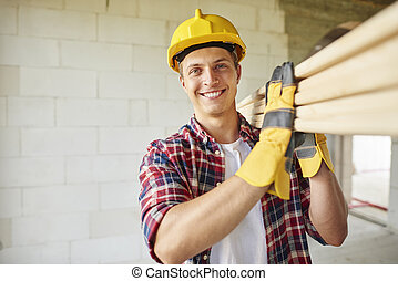 より若い, 大工, 手掛かり, 木製の板