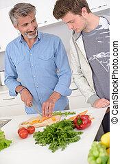 より若い, 野菜, 見る, dubiously, 準備, 人