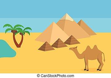 らくだ, 木, やし, ピラミッド, サハラ砂漠