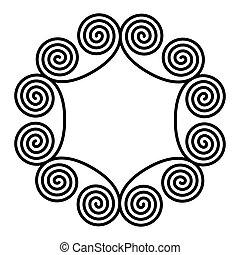 らせん状に動きなさい, ダブル, 円, 装飾, フレーム, 作られた