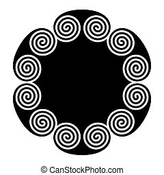 らせん状に動きなさい, ダブル, 形づくられた, 円, 装飾, 紋章, 作られた