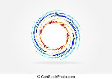 らせん状に動きなさい, ベクトル, デザイン, カード, 背景, 波, ロゴ, アイデンティティー, アイコン