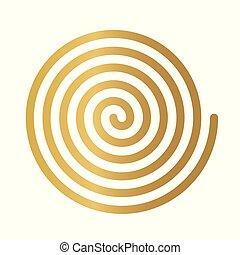 らせん状に動きなさい, 金, icon-, イラスト, ベクトル, 贅沢