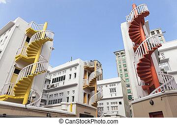 らせん状に動きなさい, bugis, 階段, カラフルである, 区域