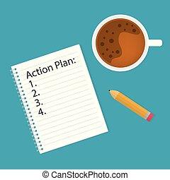 らせん状に動きなさい, notebook-, 書かれた, イラスト, ベクトル, 計画, 行動