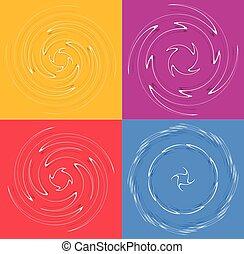 らせん状に動く, モノクローム, 回転, 背景, 上に, 巻き毛, illustration., より糸, single-color, デザイン, らせん状に動きなさい, カール, セット, 背景。, 要素, shapes., helical, helix, volute, 渦巻, 白