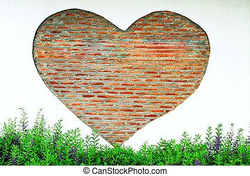 れんがの壁, 好調で, の, 心, 庭で