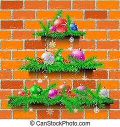 れんが, 木, クリスマス, 赤, 棚
