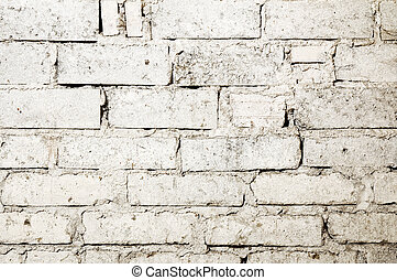 れんが, 浪費された, 背景, 壁, 白