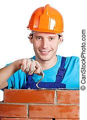 れんが, handyman, こて, 幸せ