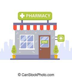 れんが, store., 薬, 建物