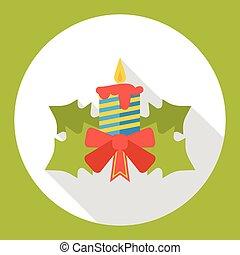 ろうそく, クリスマス, 平ら, アイコン
