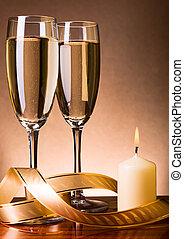 ろうそく, シャンペン, 2, ガラス