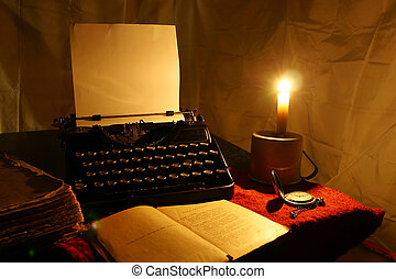 ろうそく, 古い, タイプライター, そして, 古い, 本