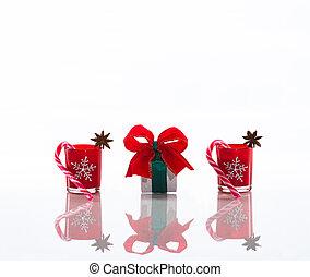 ろうそく, 茎, perspex, 雪片, アニス, 隔離された, 砂糖, 背景, 星, 反射, 白い クリスマス, 赤い箱, スペース, 背景, コピー, 旗, 贈り物, 蝋燭, 水晶, ホールダー, クリスマス