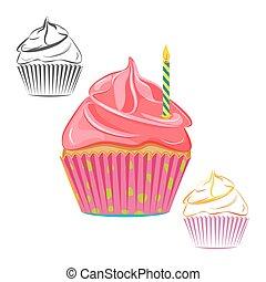 ろうそく, birthday, セット, cupcake