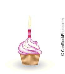 ろうそく, birthday, cupcake
