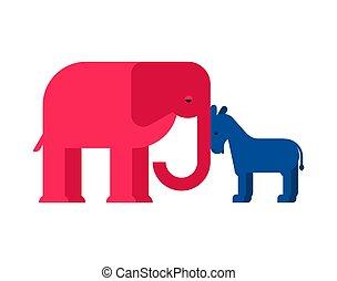 ろば, usa., 民主党員, イラスト, america., ベクトル, 象, パーティー, 共和党員
