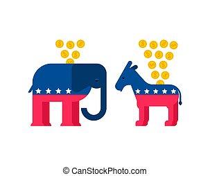 ろば, usa., moneybox., 民主党員, イラスト, ベクトル, 象, パーティー, 共和党員