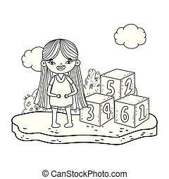 わずかしか, おもちゃのブロック, 数, 女の子