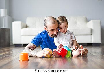 わずかしか, おもちゃのブロック, 父, 息子, 家, 遊び, 幸せ