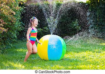 わずかしか, おもちゃ, 女の子, ボール, 遊び